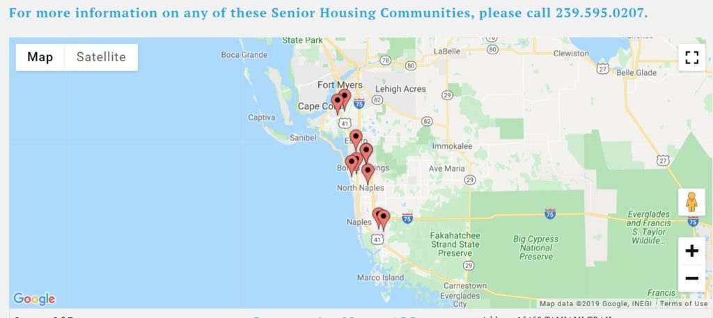 Southwest florida senior housing communities map